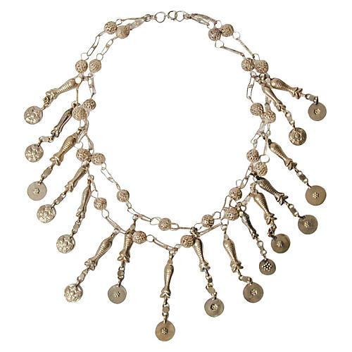 Tribal Afghan Kuchi Fish Charm Necklace
