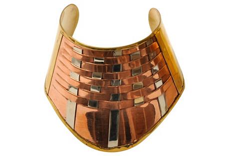 Tri-Color Metal Woven Cuff Bracelet