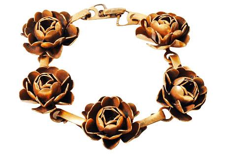 Brass Rose Bracelet