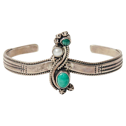 Sterling, Malachite & Pearl Bracelet