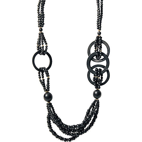 Black Beaded Multi-Strand Necklace
