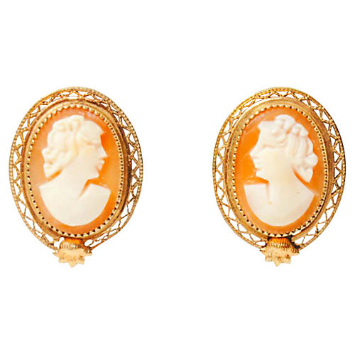 Cameo 12K Gold Earrings