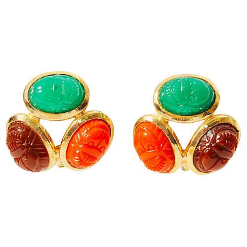 Scarab Stone Earrings