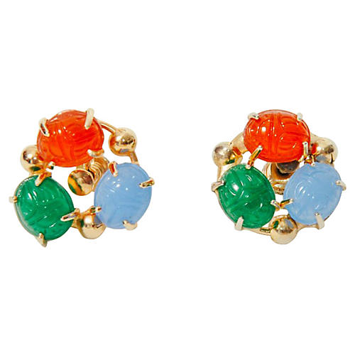 Scarab Clip-On Earrings