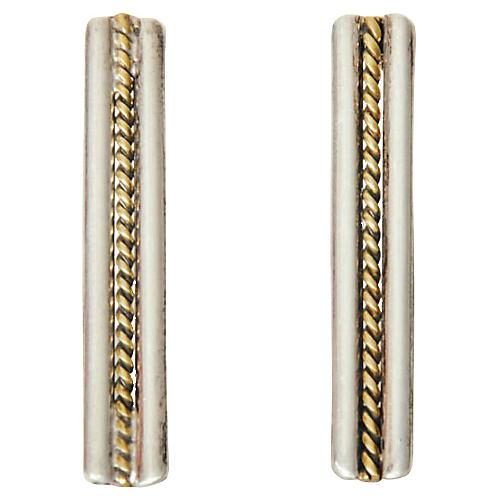 Sterling Silver Taxco Bar Earrings