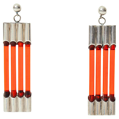 Sterling & Lucite Bar Earrings
