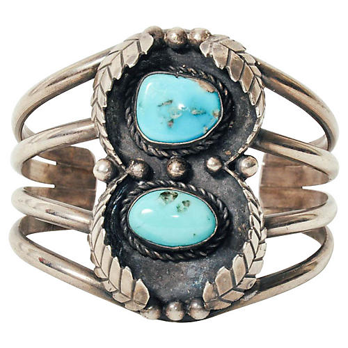 Navajo-Style Turquoise & Sterling Cuff