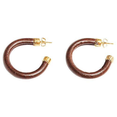 Brown & 14K Gold Hoop Earrings
