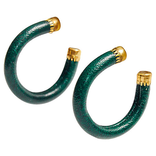 Green & 14K Gold Hoop Earrings