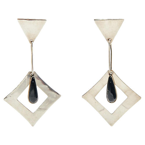Silver & Onyx Drop Earrings