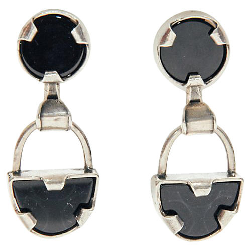 Onyx & Sterling Silver Earrings