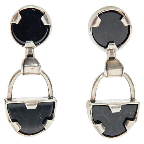 Onyx & Sterling Silver Earrings