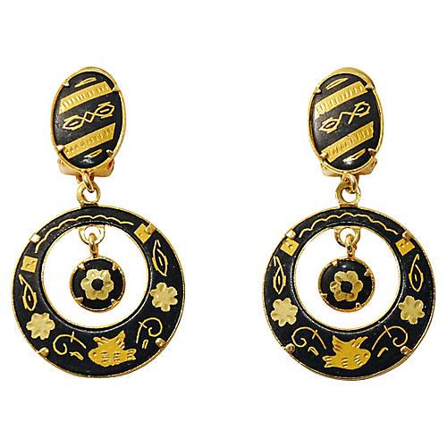 Damascene Drop Earrings