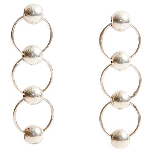 Silver Chainlink Ball Earrings