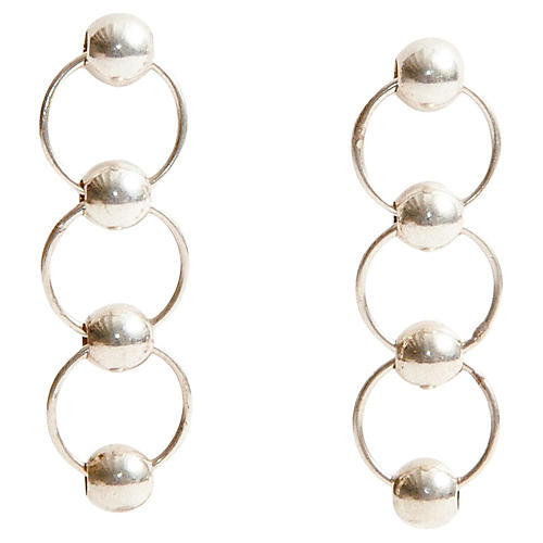 Silver Chainlink Ball Earrings
