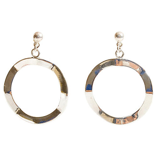 Wavy Sterling Silver Circle Earrings