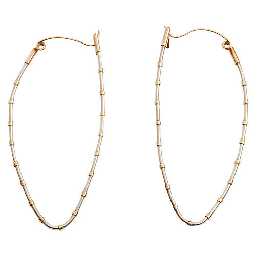 Elongated Sterling Oval Hoops