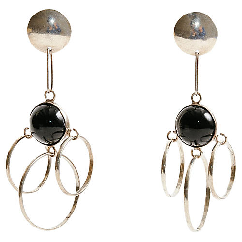 Long Silver & Onyx Taxco Earrings