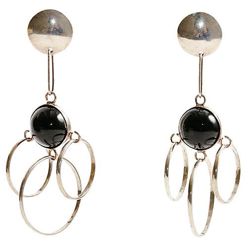 Long Silver & Onyx Taxco Earrings