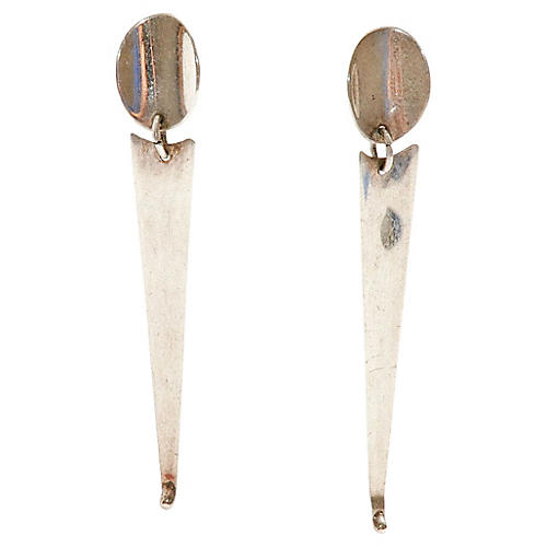 Sterling Silver Point Drop Earrings