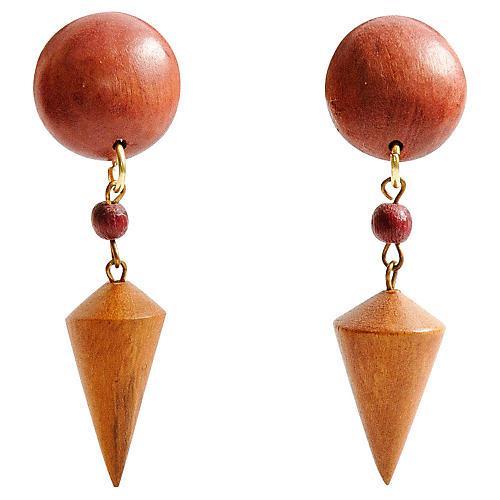 Wood Cone Earrings