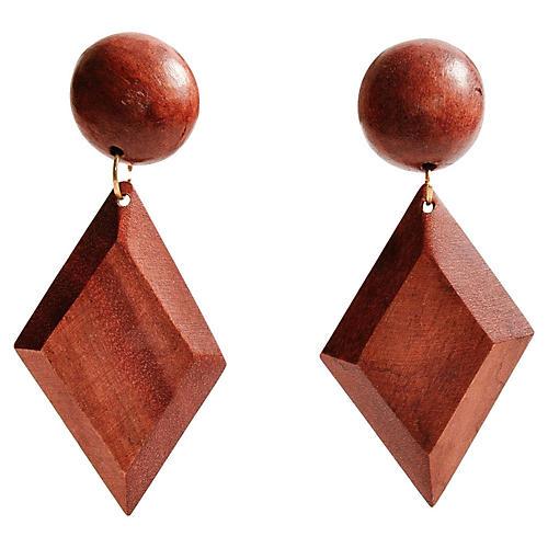 Wood Diamond Earrings