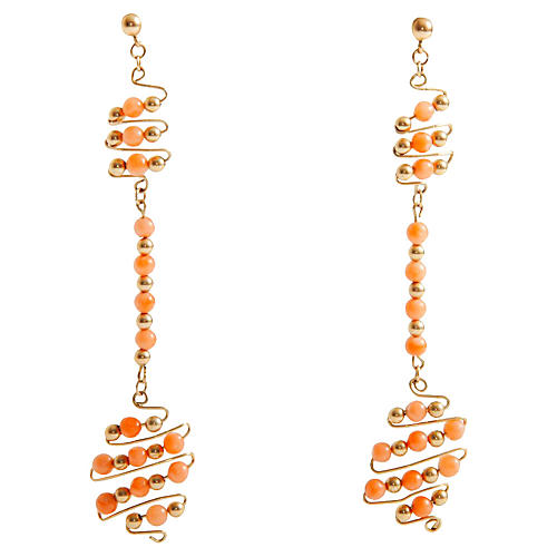 12K Gold-Filled Coral Bead Earrings