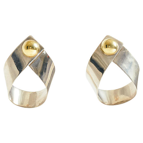 Taxco Silver Ribbon Earrings