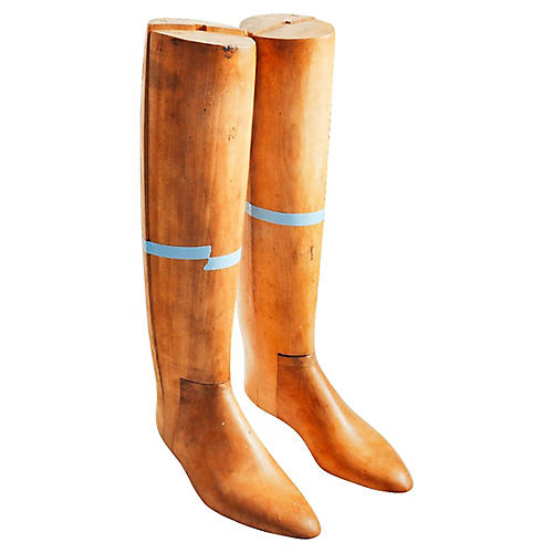 Antique English Wood Boot Forms