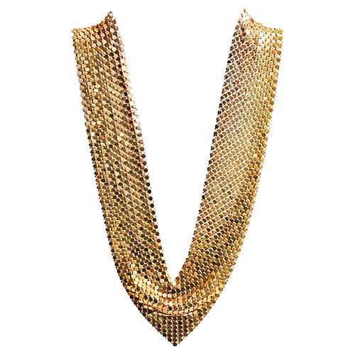 1970s Gold Mesh Chainmail Necklace