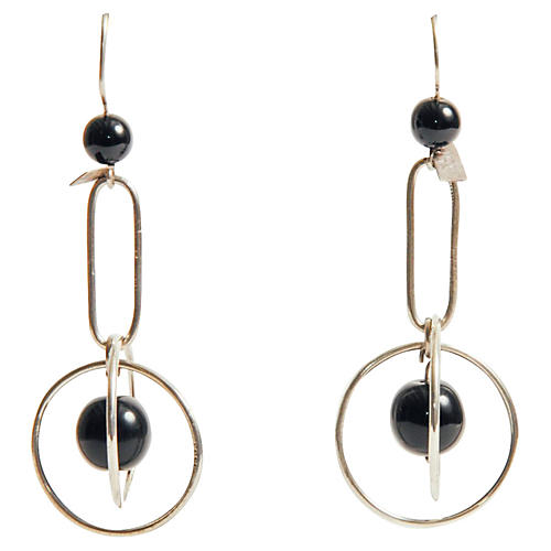 Taxco Sterling & Onyx Mobile Earrings
