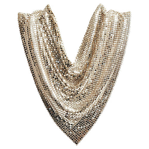 1970s Whiting & Davis Mesh Bib Necklace