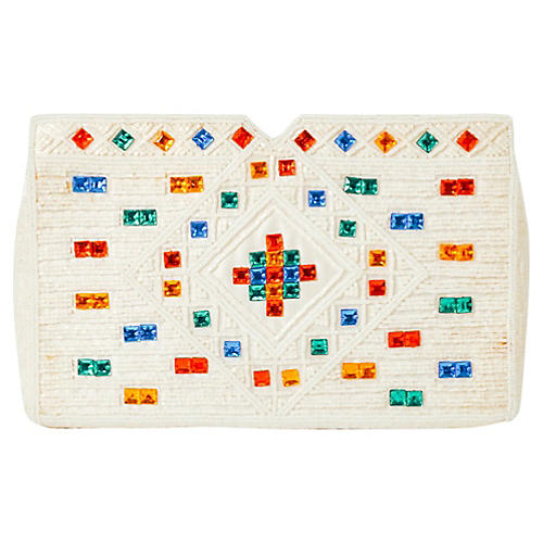 Adolfo White Beaded Clutch