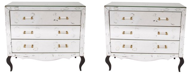 French Mirrored  Chests, Pair