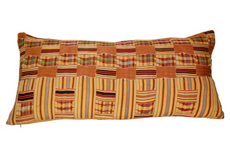 African Kente Tribal Textile Pillow