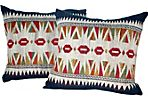 Embroidered Laotian Tribal Pillow, Pair
