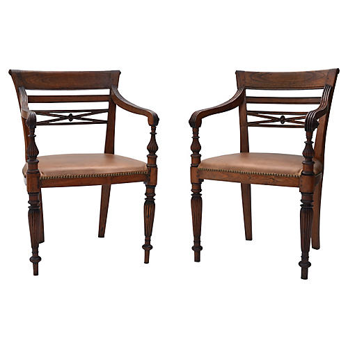 19th-C. Colonial Armchairs, Pair