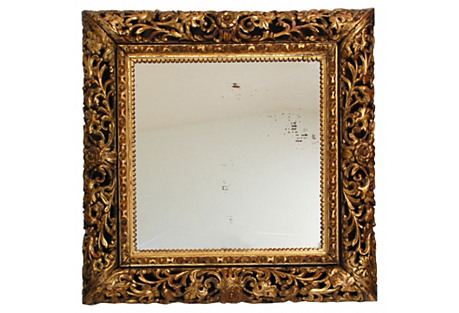 19th-C. Italian Carved Giltwood Mirror