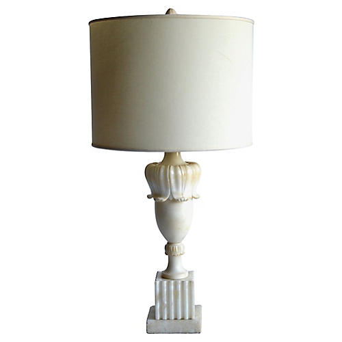 Italian Carved Alabaster Table Lamp