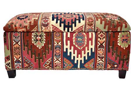 Antique Kilim Covered Trunk