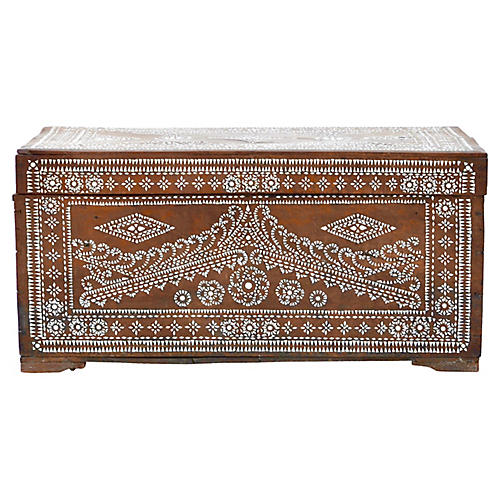 19th-C. Mother-of-Pearl-Inlay Trunk