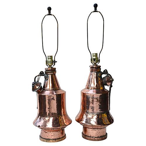 Antique Anatolian Vessel Lamps, Pair
