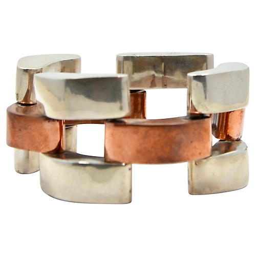 Mexican Sterling & Copper Bracelet