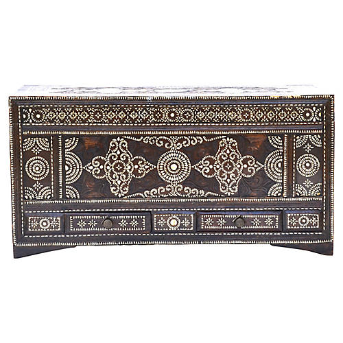Late-19th-C. Mother-of-Pearl Inlay Trunk