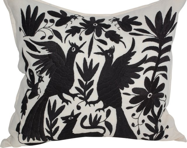 Otomi Embroidered Pillows, Pair