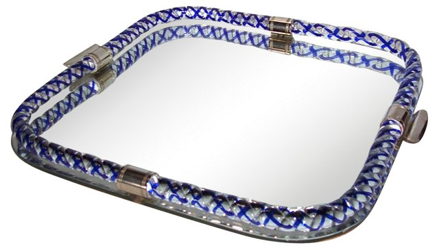 Cobalt Venini Glass & Mirror Tray