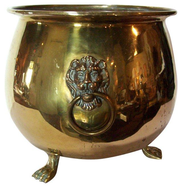 English Brass Cachepot w/ Lions