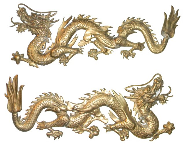 "38"" Brass Wall Dragons, Pair"