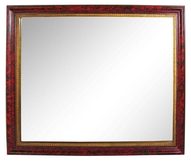 Red Faux-Tortoise Mirror
