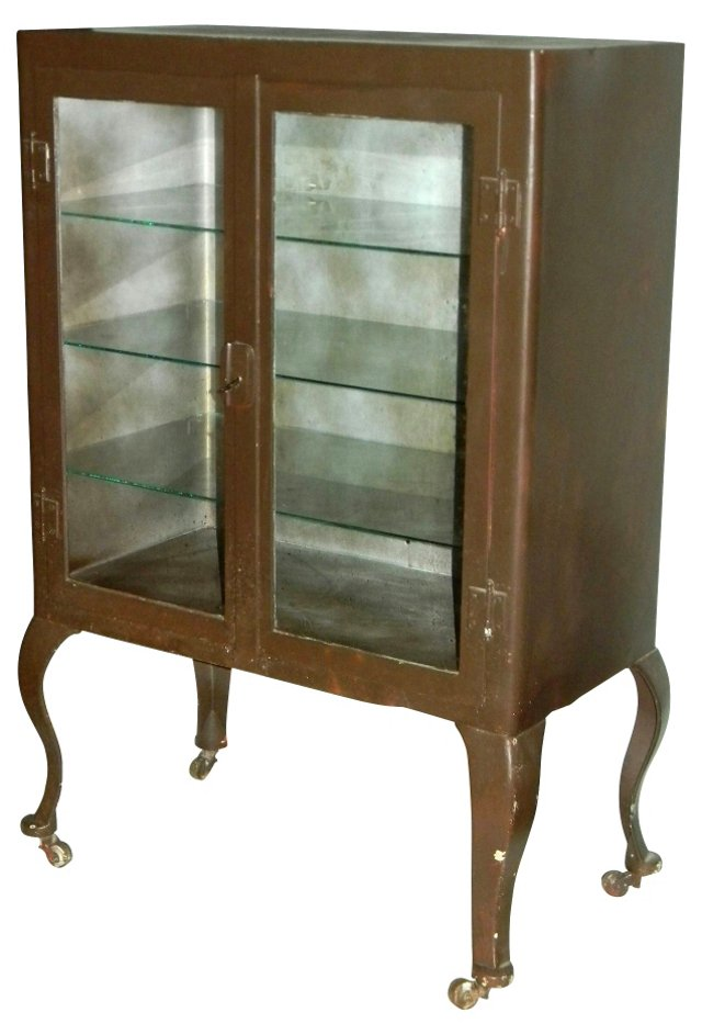 1920s Painted Steel Medical Cabinet